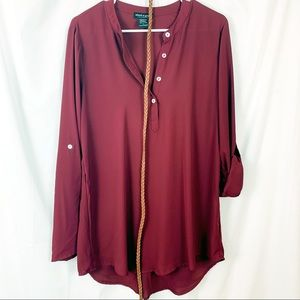 About a Girl polyester Ruby Tunic with thin belt.